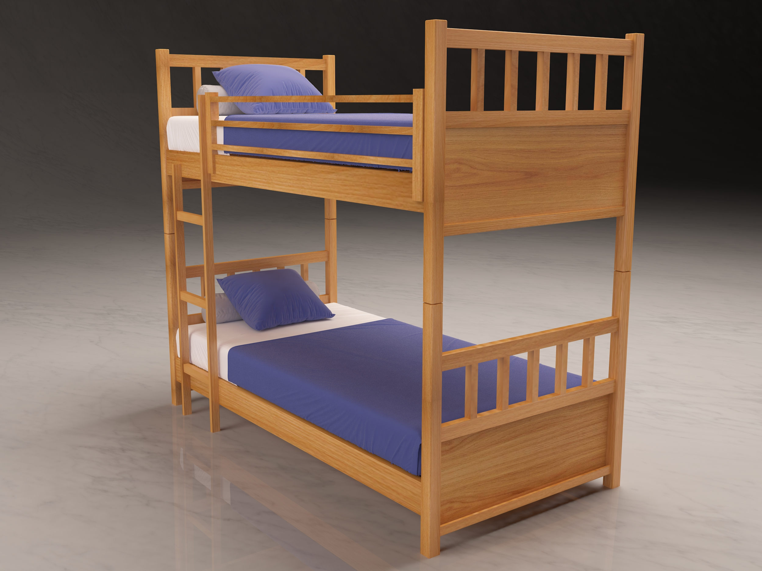 Oak Veneered Beech Bunk Bed High Quality